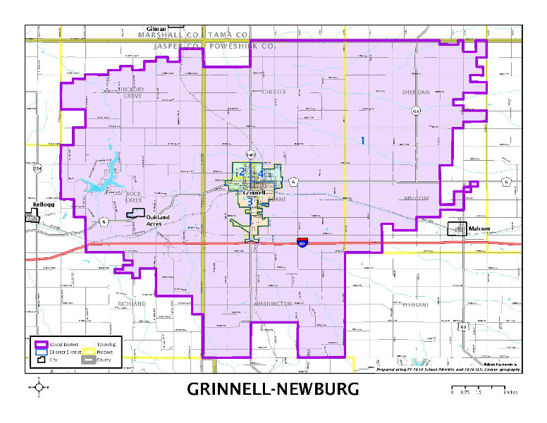 Map of Grinnell-Newburg District Boundry Line